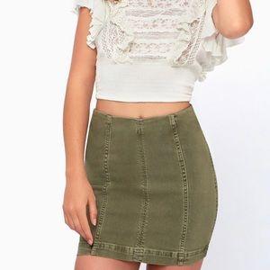 Free People Modern Femme Olive Green Skirt